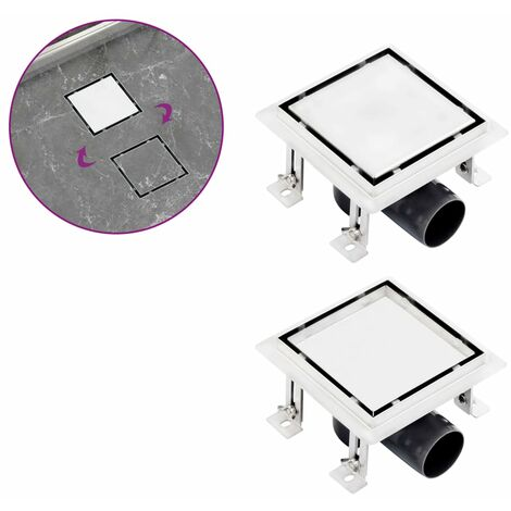 Shower Drain With 2-in-1 Flat and Tile Insert Cover 12x12 cm Stainless Steel