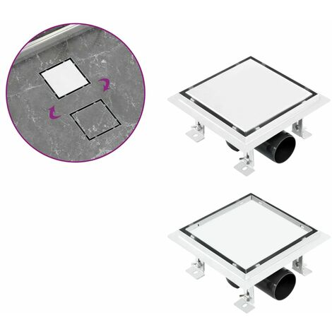 Shower Drain With 2-in-1 Flat and Tile Insert Cover 15x15 cm Stainless Steel