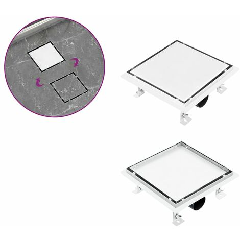 Shower Drain With 2-in-1 Flat and Tile Insert Cover 20x20 cm Stainless Steel