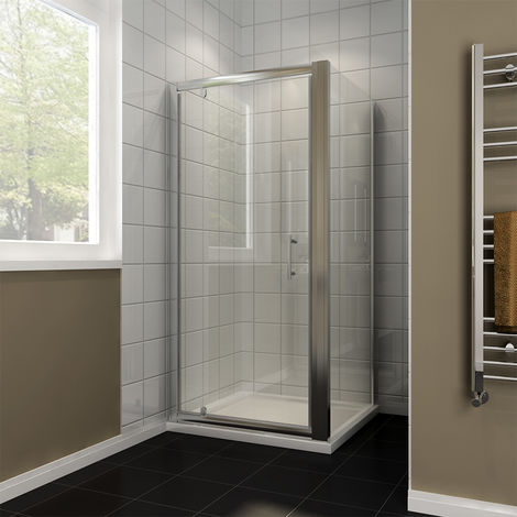 Shower Enclosure 1000 x 900 mm Pivot Hinge Glass Screen Cubicle with Side Panel