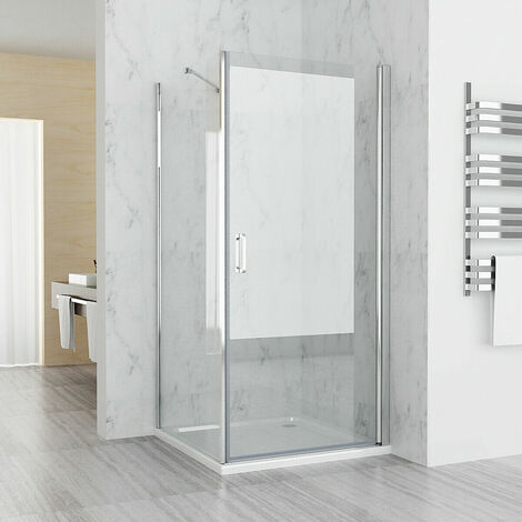 Shower Enclosure Cubicle 180° Pivot Door Frameless with Side Panel 6 mm Easy Clean Glass 1850 Height