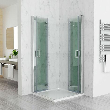 Shower Enclosure Cubicle Door Corner Entry Bathroom 6mm Safety Easy Clean Nano Glass Bifold Door Frameless