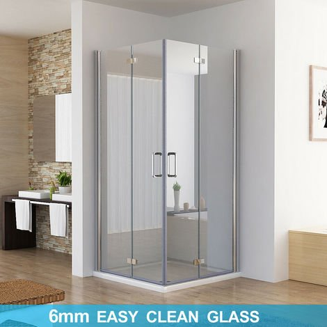 Shower Enclosure Cubicle Door Corner Entry Bathroom 6mm Safety Easy Clean Nano Glass Bifold Door Frameless