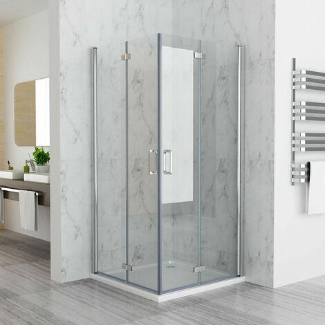 Shower Enclosure Cubicle Door Corner Entry Bifold Door Frameless 6mm Easy Clean Nano Glass