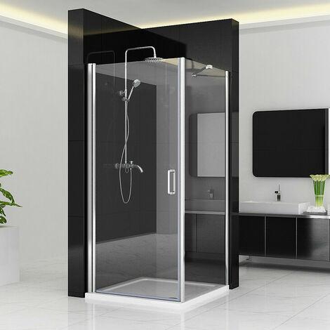 Shower Enclosure Cubicle Door Pivot Hinge Shower Door 6mm Easy Clean Glass with Side Panel