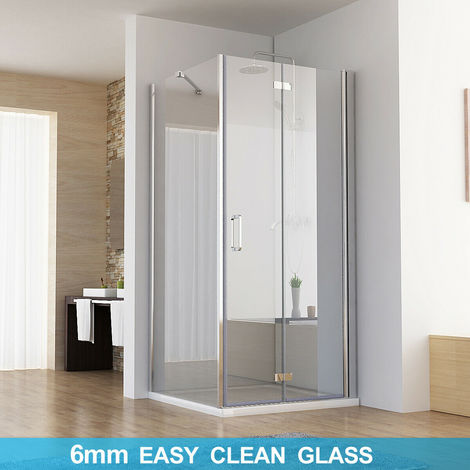 Shower Enclosure Cubicle Door with Side Panel 6mm Easy Clean Nano Glass Bifold Door and Tray