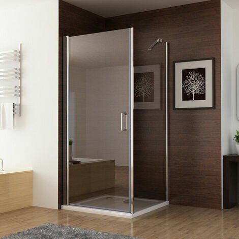 Shower Enclosure Frameless 180° Pivot Door with Side Panel 6mm Clear Safety Nano Glass 1850 Height - No Tray