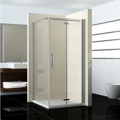 Shower Enclosure Frameless Bifold Pivot Door Glass Screen Side Panel Stone Tray