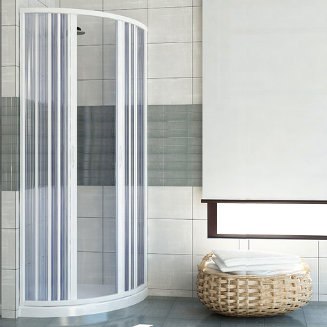 Shower Enclosure Semicircular Plastic PVC mod. Scorpione with central opening