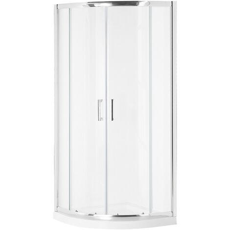 Shower Enclosure Tempered Glass Double Sliding Door 80x80x185 cm Silver Jukatan