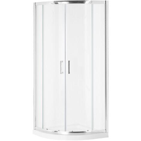 Shower Enclosure Tempered Glass Double Sliding Door 90x90x185 cm Silver Jukatan