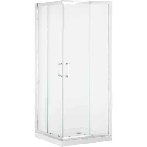 Shower Enclosure Tempered Glass Double Sliding Door 90x90x185 cm Silver Tela