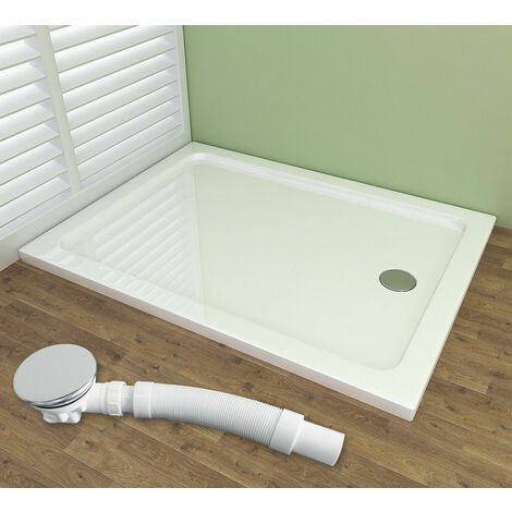 Shower Enclosure Tray with Drain Shower Base Slimline Rectangle Acrylic Tray + Free Waste Trap