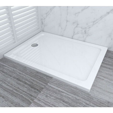 Shower Enclosure Tray with Drain Shower Base Slimline Rectangular Acrylic Tray 1000x800mm + Free Waste Trap