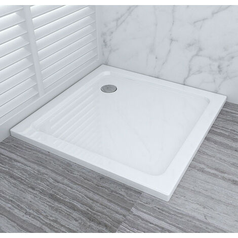 Shower Enclosure Tray with Drain Shower Base Slimline Rectangular Square Acrylic Tray 800x800mm + Free Waste Trap