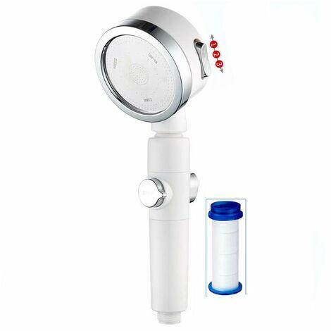 Shower head, pressurized shower, hand shower head (white shower apple + filter element)