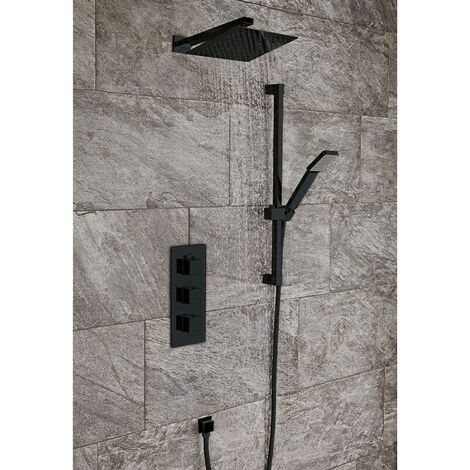 Shower Mixer Thermostatic Concealed Valve Twin Head 200mm Black Bathroom Set