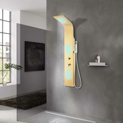 Shower Panel System Stainless Steel 201 Gold Curved