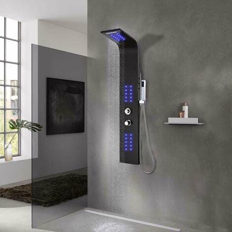 Shower Panel Unit Aluminium 20x44x130 cm Black