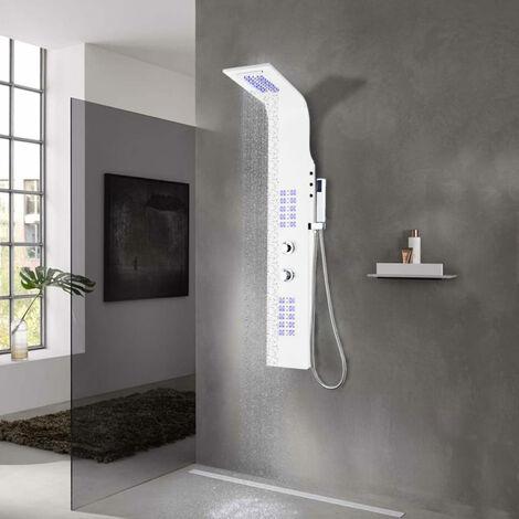 Shower Panel Unit Aluminium 20x44x130 cm White
