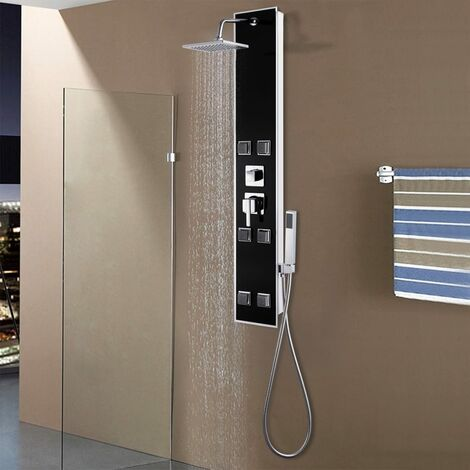 Shower Panel Unit Glass 18x42.1x120 cm Black