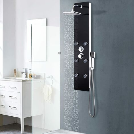Shower Panel Unit Glass 25x44.6x130 cm Black