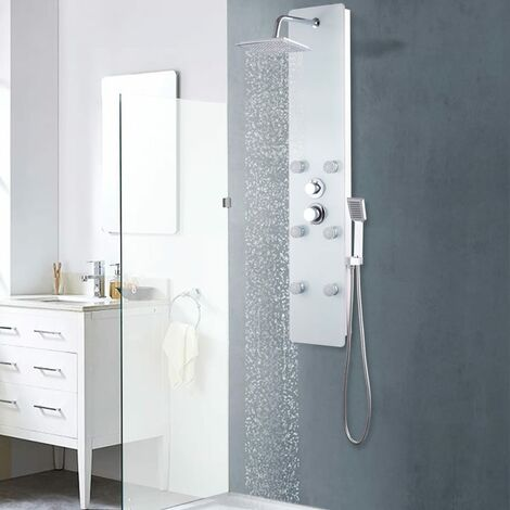 Shower Panel Unit Glass 25x44.6x130 cm White