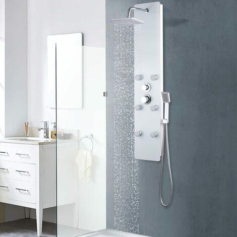 Shower Panel Unit Glass 25x44.6x130 cm White