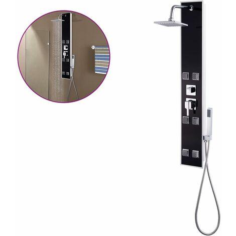 Shower Panel Unit Glass 18x42.1x120 cm Black