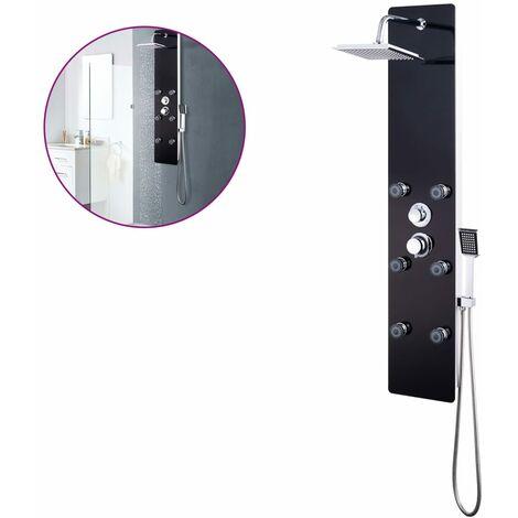 Shower Panel Unit Glass 25x44.6x130 cm Black