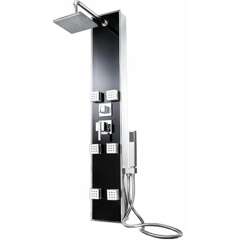 Shower panel with 6 massage jets - shower tower, shower column, shower wall panel - black - schwarz