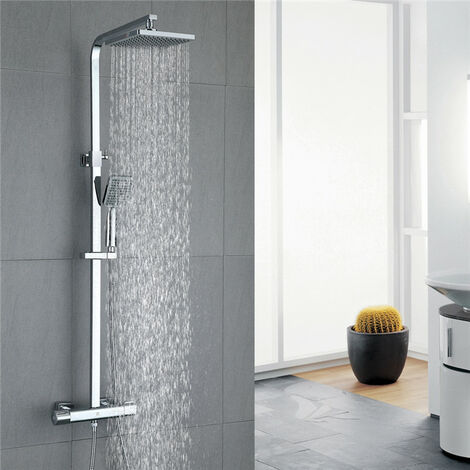 "Shower Set Thermostatic 40 °C Mixer Shower Thermostatic with 8"" Overhead Rain Shower and 3-Function Handheld Shower Square Shower Mixer Shower System"