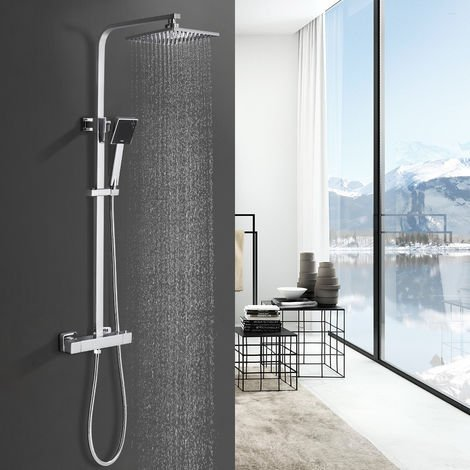 "Shower set with thermostat, hand shower and corner shower head with adjustable rod (723-1225 mm) and 8 ""square shower head and hand shower"