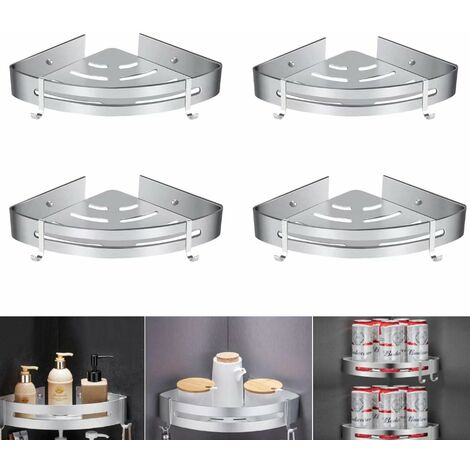 Shower shelf without drilling, bathroom corner shelf - aluminum storage basket with hooks, shower tray - storage basket (4pcs) -Matt