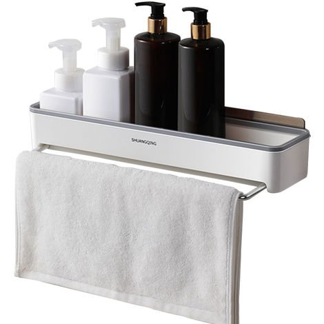 Shower Shelves with Towel Bar Adhesive Bathroom Shelf Wall Mounted Grey