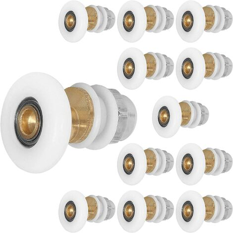 """main image of """"Shower Sliding Door Caster 12pcs 25mm, Eccentric Pulley for Shower Enclosure Doors Replacement for Shower Sliding Glass Door Runners Rollers, White"""""""