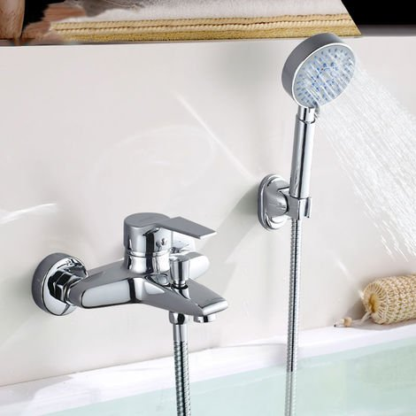 Shower system Single lever shower with hand shower and shower tap Chrome-plated brass shower tap