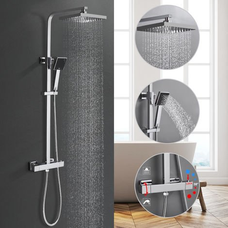 Shower System with Rain Shower Thermostat Shower Set, Shower Faucet Bathtub Faucet Bathroom Thermostat Shower Faucet Bathroom Mixer Wall Mounted Rain Shower Set Faucet Mixer Incl