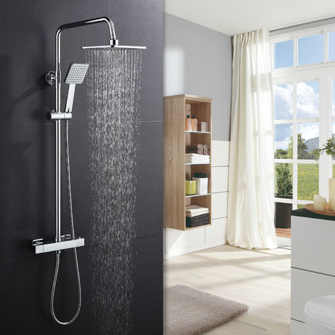 Shower System with Thermostat, Rain Shower, Overhead Shower and Hand Shower, WOOHSE Shower Set, Shower Set with Mixer, Shower with Rain Shower Arm Adjustable and Height Adjustable from 81 to 115 cm Approx, Chrome