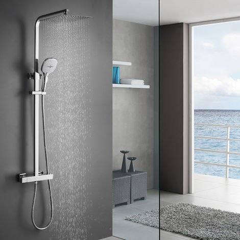 Shower System with Thermostat, Rain Shower, Shower Set, Stainless Steel, Shower Column with Overhead Shower, 3 Jet Modes, Hand Shower and Adjustable Shower Bar, Shower Set, Shower Faucet, Shower Column For Bathroom