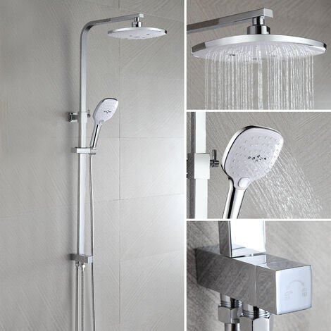 Shower system without tap, WOOHSE Wall-mounted shower column with rain shower head and hand shower with 3 functions, Height adjustable shower set: 61-113.5 cm, for bathroom / bathtub