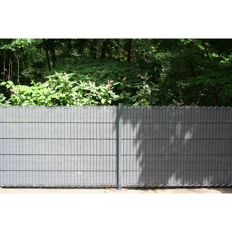 Estexo HDPE Sichtschutzstreifen Doppelstabmatten Klemmschienen 19cm Grau Gr/ün Anthrazit