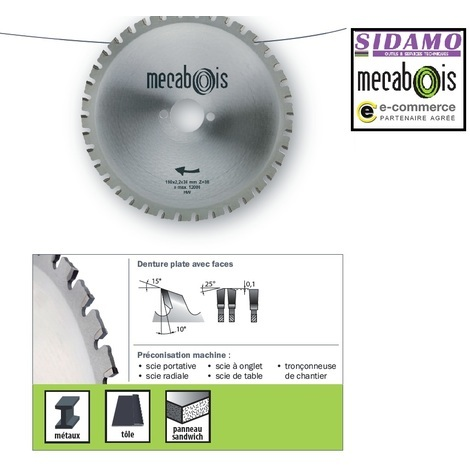 Sidamo - Lame Carbure Maximetaux 210x2.2x30 - 40 Dents