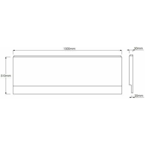 Side Bath Panel White Gloss Essentials Range Strong Acrylic Modern Panel