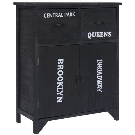 Side Cabinet Black 60x30x75 cm Paulownia Wood