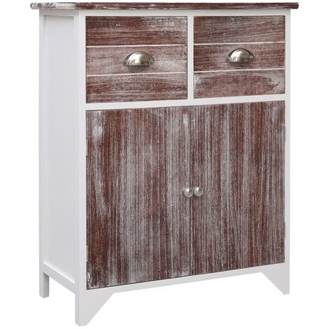 Side Cabinet Brown and White 60x30x75 cm Paulownia Wood