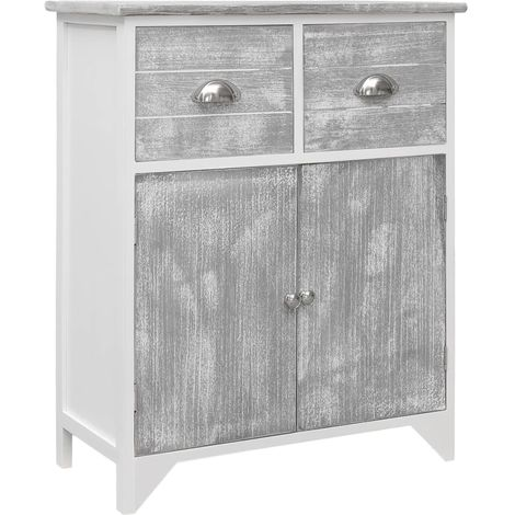 Side Cabinet Grey and White 60x30x75 cm Paulownia Wood