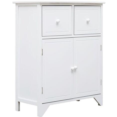 Side Cabinet White 60x30x75 cm Paulownia Wood