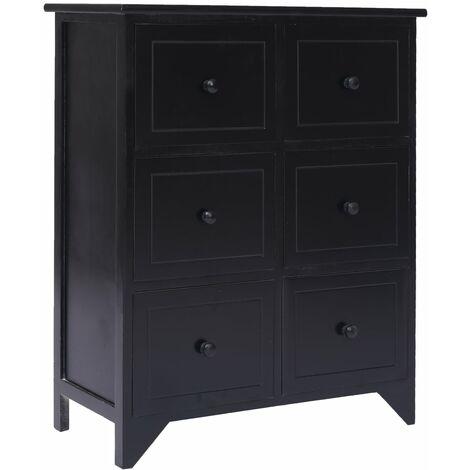 Side Cabinet with 6 Drawers Black 60x30x75 cm Paulownia Wood