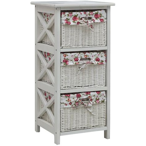 Side Cabinet with Three Baskets White Wood